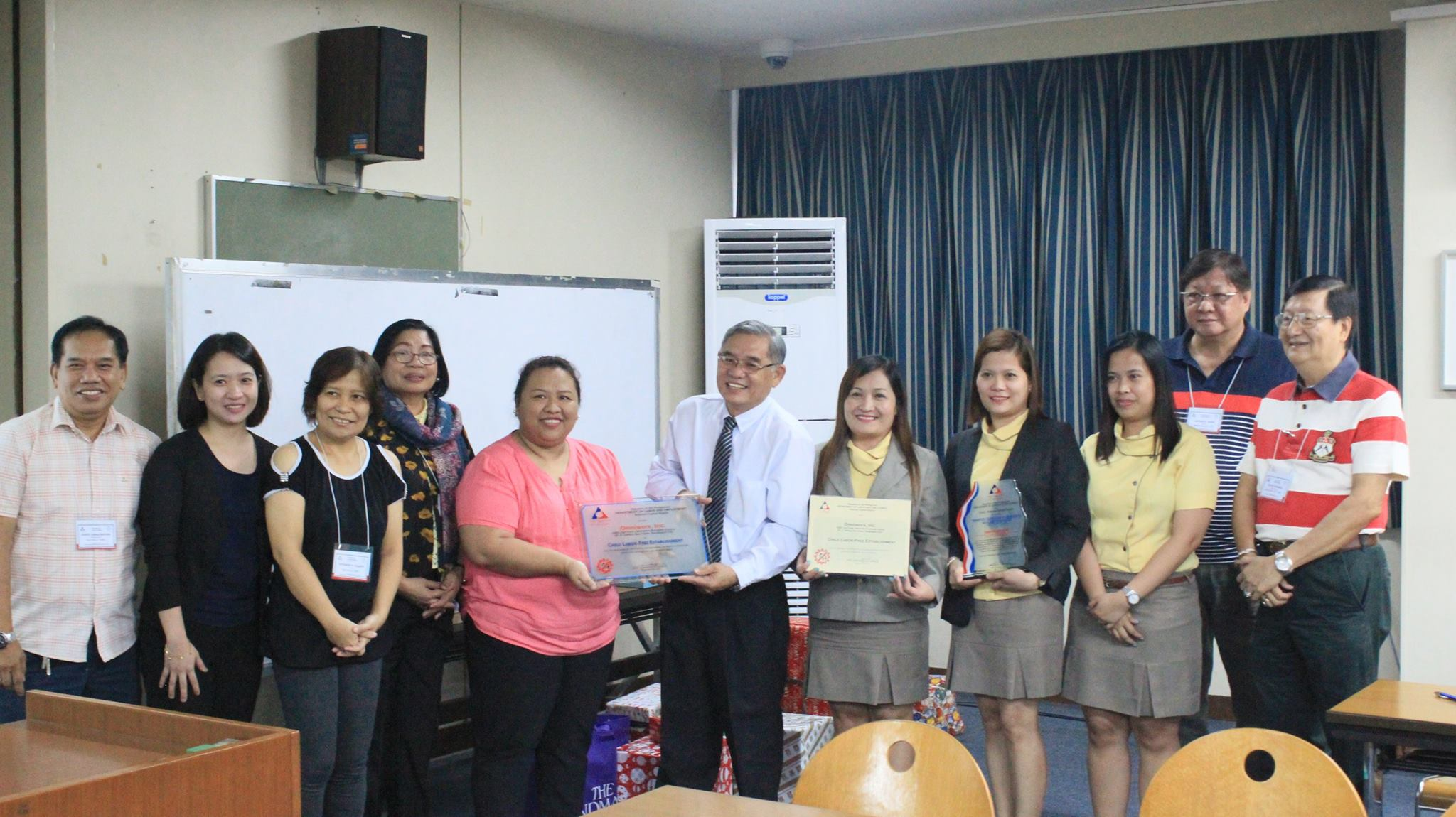 December 1,2016 - Awarding of Tripartite Certificate of Compliance with Labor Standards